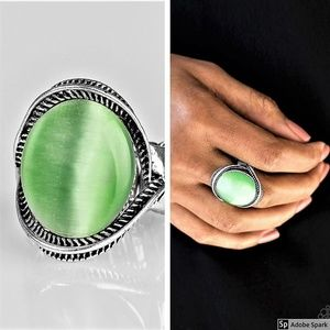 GLOW But Sure - Green Moonstone Stretch Ring